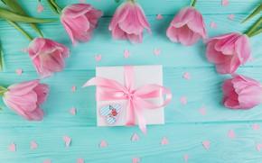 Картинка любовь, цветы, подарок, тюльпаны, love, розовые, fresh, wood, pink, flowers, beautiful, romantic, tulips, gift, spring, …