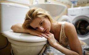 Картинка девушка, унитаз, стиральная машина, Таха Филатова, плохо