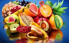 Картинка вода, отражение, лимон, яблоко, апельсин, арбуз, киви, виноград, груша, фрукты, ананас, банан, гранат, авокадо, хурма, …
