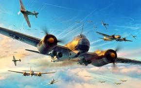 Обои Hurricane, Junkers, Battle of Britain, RAF, Luftwaffe, Artwork, Hawker, Fighter, WWII, Ju-88