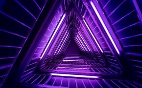 Картинка фиолетовый, неон, лестница, light, neon, purple, ladder