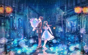 Картинка ночь, город, дождь, улица, романтика, дома, букет, зонт, фонари, костюм, лужи, двое, свидание, белое платье, …