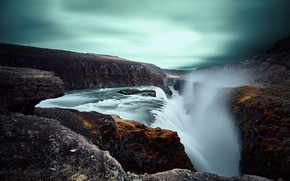 Картинка горы, река, скалы, водопад, Исландия
