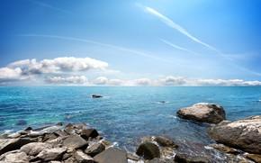 Картинка море, волны, пляж, небо, камни, берег, beach, sky, sea, blue, seascape