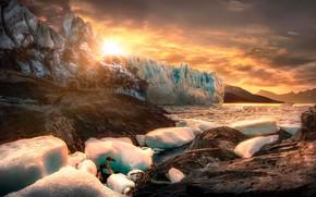 Обои лёд, скалы, солнце, льды, горы, Патагония, Аргентина, камни
