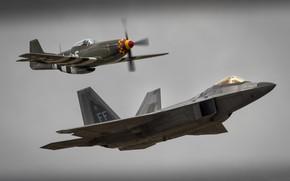 Картинка F-22 Raptor, P-51 Mustang, F-22 Raptor & P-51 Mustang