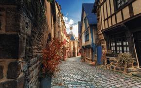 Картинка город, улица, Франция, дома, мостовая, Бретань, Динан