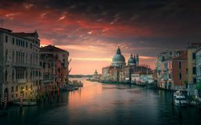Обои небо, вода, город, дома, вечер, утро, Италия, Венеция
