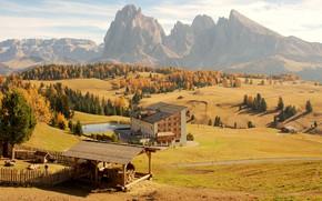 Картинка осень, солнце, деревья, горы, скалы, поля, бассейн, Альпы, Италия, домики, отель, луга, Seiser Alm