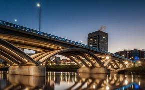 Картинка ночь, мост, огни, дома, опора, США, Огайо, Rich Street Bridge, Колумбус