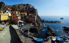 Обои Чинкве-Терре, скалы, дома, Манарола, Италия, Лигурийское побережье, море