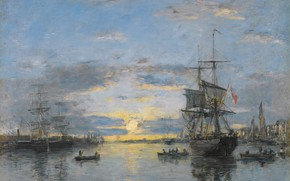 Картинка корабль, картина, Эжен Буден, Eugene Boudin, Havre. The Avant Port. Sun Down
