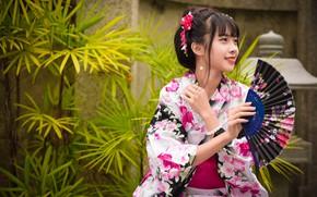 Картинка девушка, улыбка, кимоно, азиатка