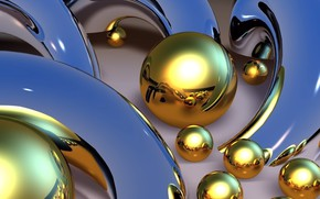 Картинка линии, абстракция, обои, блеск, изгибы, картинка, голубой фон, золотые шары, металлические формы, отражение света