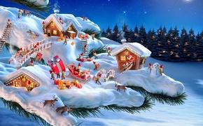 Картинка зима, лес, снег, ночь, иголки, мост, праздник, дома, ветка, подарки, гномы, сани