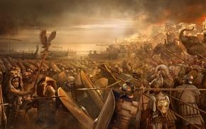 Обои море, оружие, побережье, арт, битва, крепость, сражение, мечи, слоны, щиты, наступление, войска, копья, шлемы, стратегия, ...