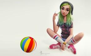 Обои Nazar Noschenko, девушка, Green hair girl, девчонка, арт