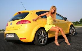 Картинка взгляд, девушка, Девушки, SEAT, желтый авто, блогдинка