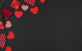 Обои День влюбленных, День святого Валентина, фон, Праздник, Роза, Сердечки