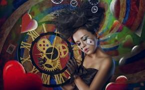 Картинка девушка, часы, макияж