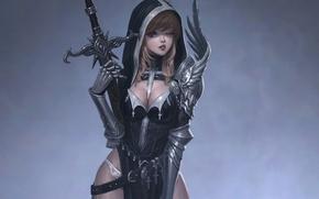 Картинка язык, кресты, меч, доспехи, капюшон, декольте, перчатки, серый фон, подмигивание, девушка-воин, кокетство