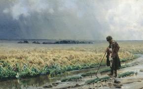 Обои картина, холст, масло, Николай Сергеев, Градобой, пейзаж