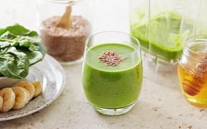 Картинка green, коктейль, напиток, мёд, банан, овощи, fresh, smoothie, смузи, шпинат