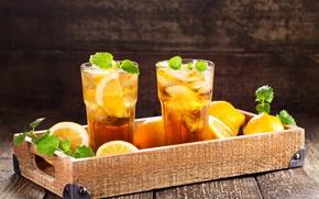 Картинка чай, еда, лёд, стаканы, напиток, мята, лимоны, поднос, лимонад
