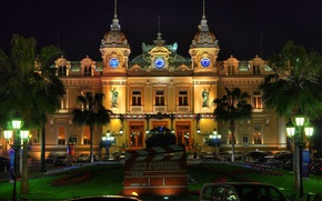 Картинка city, lights, Monaco, trees, night, palm trees, architecture, building, Monte Carlo, old building, fountain, Casino, …