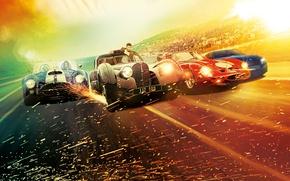 Картинка город, блики, фон, гонка, скорость, шоссе, искры, триллер, постер, автомобили, Scott Eastwood, Скотт Иствуд, Overdrive, …
