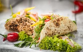 Картинка еда, курица, овощи, филе, лепешки, мексиканские, tortillas