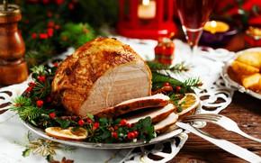 Картинка тарелка, мясо, Новый год, сервировка