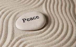Картинка песок, камни, peace, stone, sand, zen