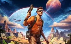 Обои пистолет, звезды, фантастика, бластер, путешественник, мужчина, визор, храм, планета, арт, очки