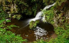 Картинка природа, озеро, водопад