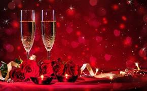 Картинка любовь, цветы, красный, розы, бокалы, red, love, romantic, боке, Valentine's Day, День Святого Валентина, романтический