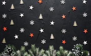 Обои новогодняя, ветки, текстура, елки