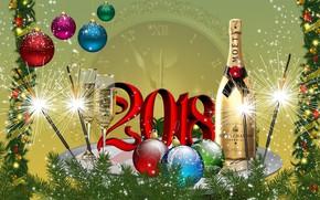 Обои шары, графика, елка, Новый год, шампанское, 2018