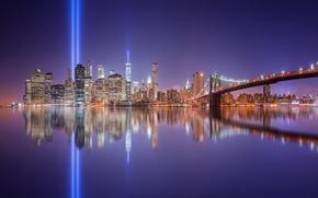 Картинка свет, отражения, ночь, город, огни, США, Нью - Йорк