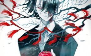 Картинка яблоко, арт, парень, Tokyo Ghoul, Токийский Гуль, взгял