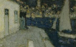 Картинка картина, городской пейзаж, Henri Le Sedaner, Анри Ле Сиданэ, Лодки. Сен-Жан-Кап-Ферра