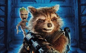 Обои фантастика, Rocket, енот, Guardians of the Galaxy Vol. 2, Groot, Стражи Галактики. Часть 2, постер, ...