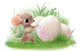 Картинка праздник, яйцо, мышка, арт, пасха, детская, Sydney Hanson, мазанка