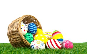 Картинка праздник, корзина, яйца, пасха, травка