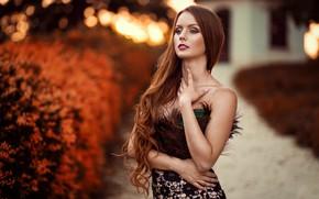 Картинка макияж, губки, локоны, ретушь, Peter Paszternak, Autumn the year's last loveliest smile