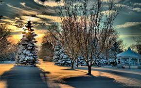 Обои лес, небо, солнце, беседка, облака, деревья, зима, снег, парк