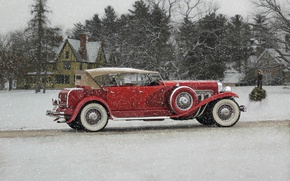 Обои классика, 1932 Duesenberg Model J Phaeton, зима, снег, Duesenberg, ретро