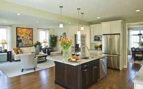 Картинка дизайн, мебель, интерьер, кухня, гостиная
