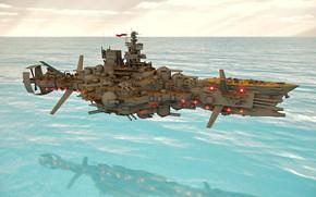 Картинка море, оружие, транспорт, корабль, Fly Dreadnought Molotoff