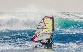 Картинка море, волны, ветер, парус, доска, виндсёрфинг